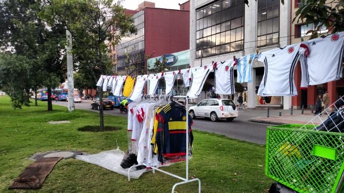Fútbol jerseys for sale in the median